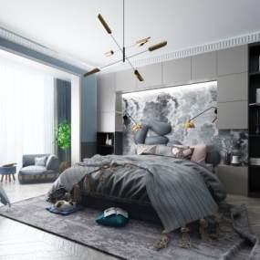 現代臥室3D模型【ID:542426272】