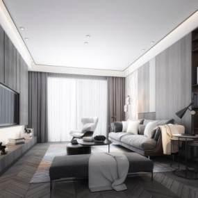现代黑白客厅3D模型【ID:533772035】