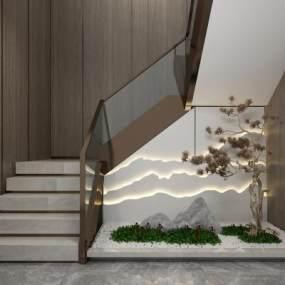 新中式楼梯间园艺景观3D模型【ID:353723512】