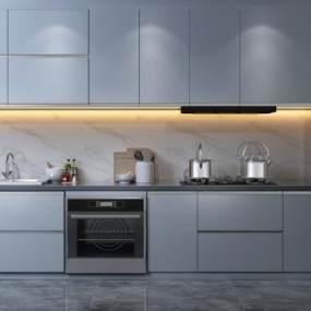 現代家居輕奢開放式廚房3D模型【ID:551397342】