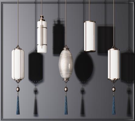 新中式吊灯组合3D模型【ID:753095853】