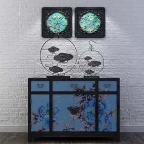 新中式边柜挂画组合3D模型【ID:131975086】