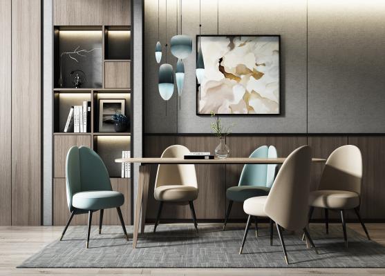 現代餐桌椅吊燈組合3D模型【ID:851181880】