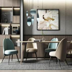 现代餐桌椅吊灯组合3D模型【ID:851181880】