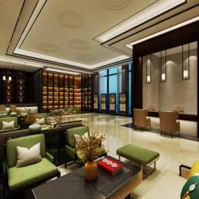 新中式酒店大堂 3D模型【ID:741801096】