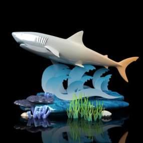 現代鯊魚擺件3D模型【ID:346941132】