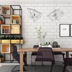 工业风餐桌椅3D模型【ID:851041870】