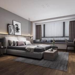 現代簡約臥室3D模型【ID:550672208】