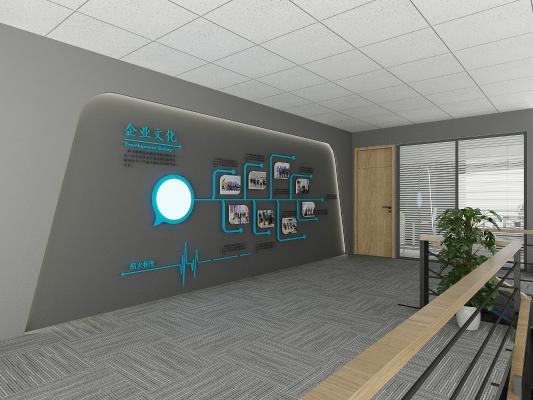 工业风公司文化墙3D模型【ID:944012578】