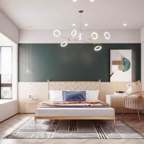 现代轻奢卧室3D模型【ID:853364749】