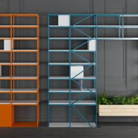 现代金属装饰架装饰柜组合3D模型【ID:143507186】