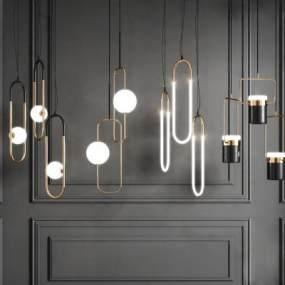 現代組合吊燈3D模型【ID:744156832】