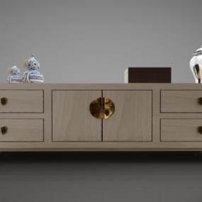 新中式風格裝飾柜3D模型【ID:144533139】