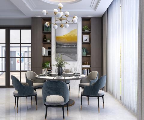 现代简约轻奢餐桌椅组合3D模型【ID:853201851】