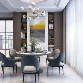 現代簡約輕奢餐桌椅組合3D模型【ID:853201851】