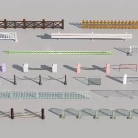 现代木质景观亲水交通护栏围栏3D模型【ID:143343460】