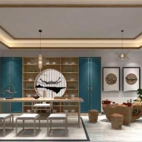 新中式茶室茶道3D模型【ID:632847636】