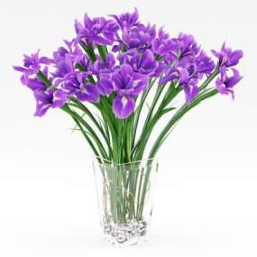 现代玻璃花瓶花卉鸢尾花 3D模型【ID:241467877】