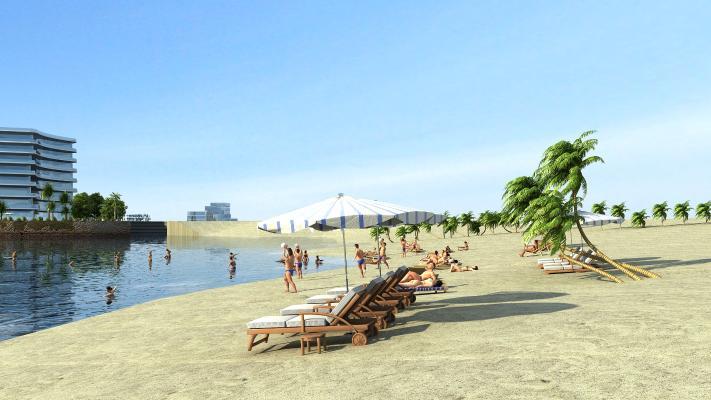 现代海滨3D模型【ID:243180047】