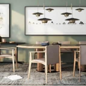 新中式餐桌椅組合3D模型【ID:850487840】