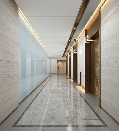 现代酒店公寓电梯厅3D模型【ID:745059617】
