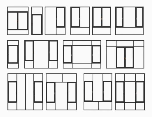 現代鋁合金窗組合3D模型【ID:343899265】