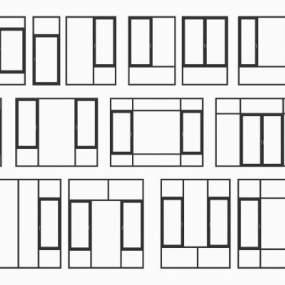 现代铝合金窗组合3D模型【ID:343899265】