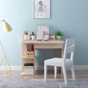 北欧儿童简约书桌椅组合3D模型【ID:944393024】
