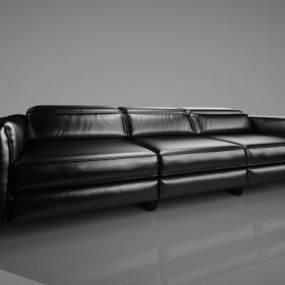 欧式黑色皮革沙发3D模型【ID:633827773】