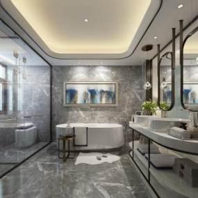 现代卫生间浴室3D模型【ID:533760594】