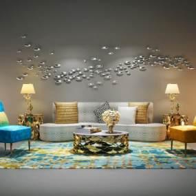 现代沙发茶几组合3D模型【ID:631985712】