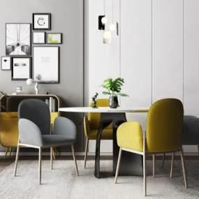 北欧餐桌椅3D模型【ID:848900869】