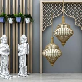东南亚佛像雕塑吊灯组合3D模型【ID:330608538】