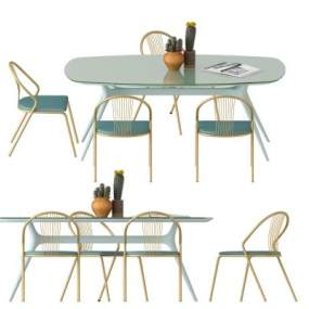 现代桌椅组合3D模型【ID:835532964】