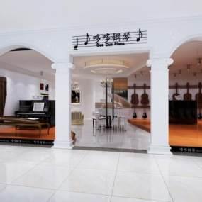 欧式钢琴店3D模型【ID:930514857】