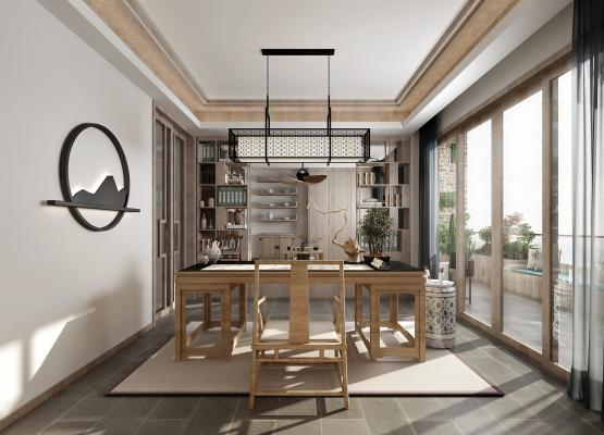 现代风格舒适型书房3D模型【ID:540651438】