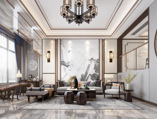 新中式別墅客餐廳3D模型【ID:546939075】