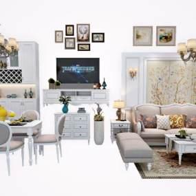 白色简欧转角沙发3D模型【ID:533741014】
