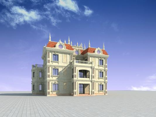 法式欧式别墅3D模型【ID:140830375】