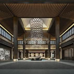 新中式酒店大堂3D模型【ID:753485041】