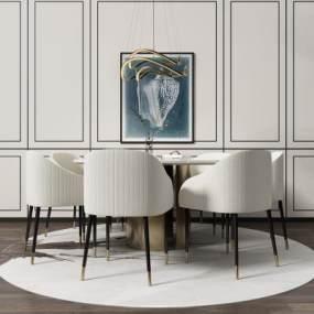 现代餐桌椅吊灯组合3D模型【ID:843527832】