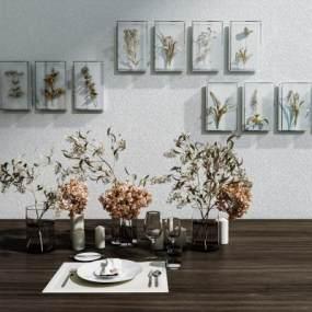 现代餐具装饰品组合3D模型【ID:251180558】
