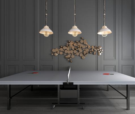 现代乒乓球桌乒乓球室乒乓球台乒乓球拍组合3D模型【ID:341033849】