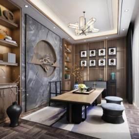 新中式茶室3D模型【ID:650389167】