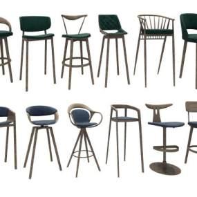 现代北欧吧椅组合3D模型【ID:733210255】