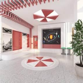 現代科技走廊休息室3D模型【ID:949103677】