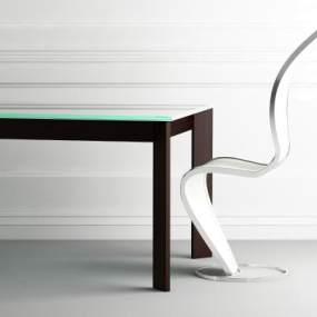 现代桌椅组合3D模型【ID:835724956】