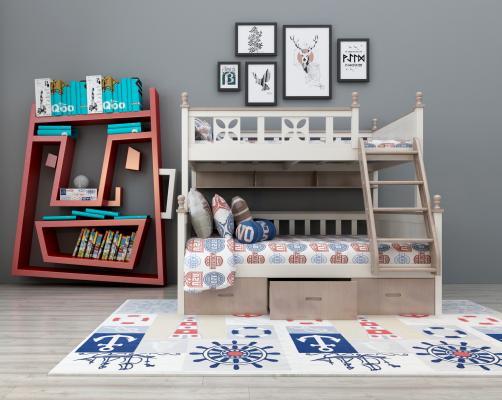 现代上下床上下铺书架装饰架组合3D模型【ID:830538818】