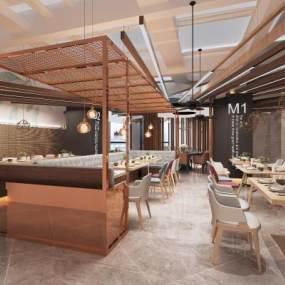 北欧主题餐厅餐馆3D模型【ID:643425216】