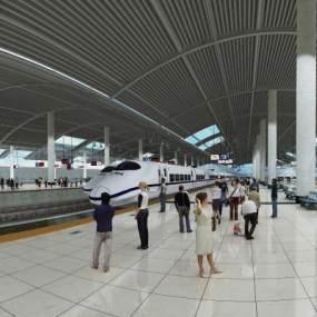 现代火车站3D模型【ID:950836900】